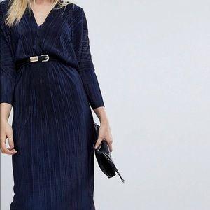 Asos batwing vneck plisse midi navy blue dress